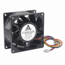 Gdstime 8038 DC 12V Waterproof Ball Bearing PWM 4 Pin  80x80x38mm Server Square Inverter Cooling Fans sanyo 9gv0824p1g03 dc 24v 1 60a 80x80x38mm server square fan