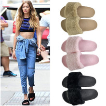 New Winter Indoor Slippers Plush Home Shoes Fashionable anti - skid - resistant flat - hair slippers lady shose цены онлайн
