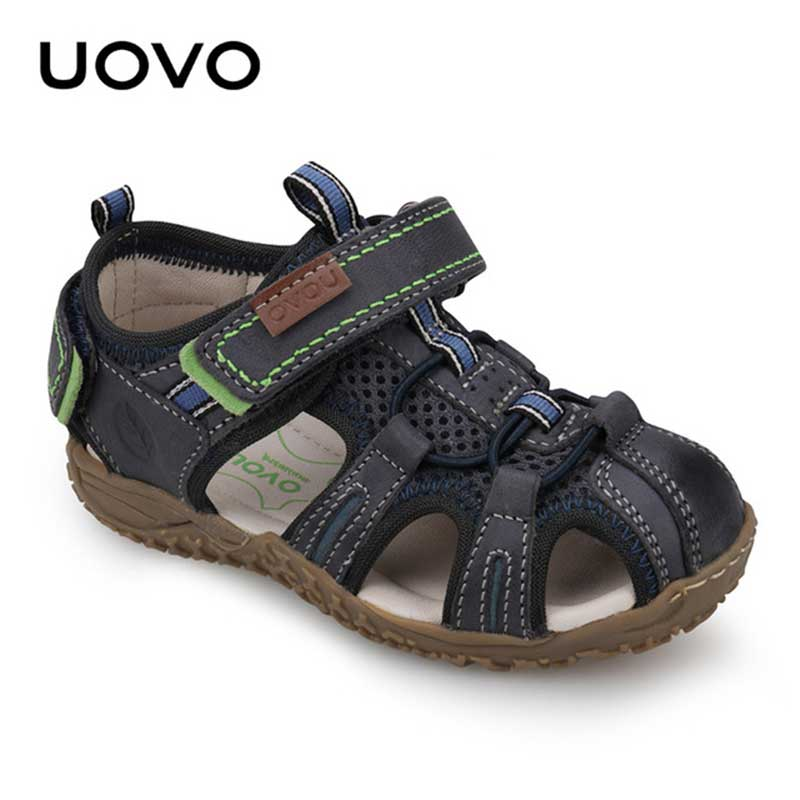 Uovo Kids Suede Leather Sandals Classical Closed Toe Beach Shoes Size 25-36 Soft Goat skin Summer Footwear Moccasins Shoes children shoes flock soft leather sandals closed toe sandals solid kids girls princess dance party shoes female beach shoes