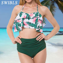 96ddaa8c5ad 2018 Woman Plus Size Swimwear High Waist S-3XL Bikini Big Women Bathing  Suits Floral