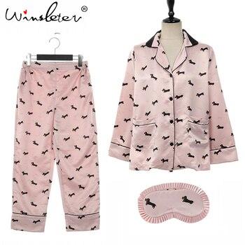 New 2019 Pajama Sets Women Dachshund Print 3 Pieces Set Long Sleeve Top + Pants Elastic Waist + Blinder Loose Homewear S74407 8