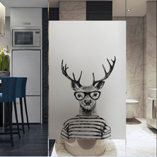 Frosted glass stickers Ins Nordic style deer Bathrooms balcony door windows electrostatic transparent opaque film