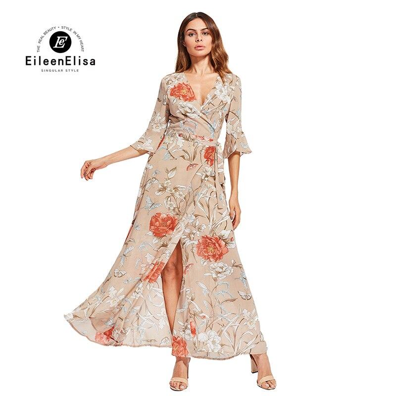 Eileen Elisa robe élégante v-cou impression 2017 décontracté longues robes bohème femmes Sexy haute fente robe