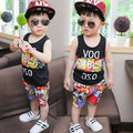 New 2016 Summer Cartoons 2PCS Vest Pants Boys Sets Kids Boy Clothing Clothes Casual Suit Fashionable children Free Shipping
