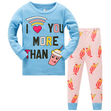 Childrens girls kids Clothing Sets Priness Suits 2 pcs Spring Autumn Sleepwear Cotton Long Sleeve cartoon pajamas Set