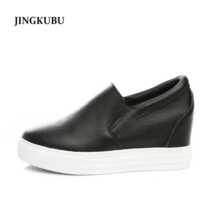 JINGKUBU Women Sneakers Slip on Casual Flats Shoes Leather White Sole Female Lazy Shoes Ladies White Black Metallic Faux shoes glowing sneakers usb charging shoes lights up colorful led kids luminous sneakers glowing sneakers black led shoes for boys