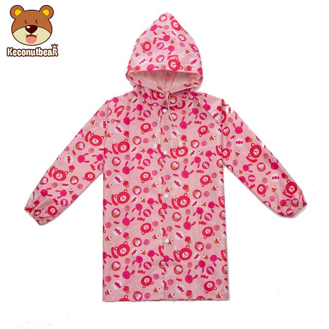 Keconutbear 2-6 years old Kids Rain Coat Cartoon Bears And Sweets Children Raincoat Kids Girls Waterproof Cute Animal Rainwear