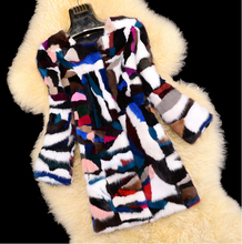 Real Mink Fur Colorful Long Mink Fur Coat Female handmade Mink Fur Long Overcoat DFP694