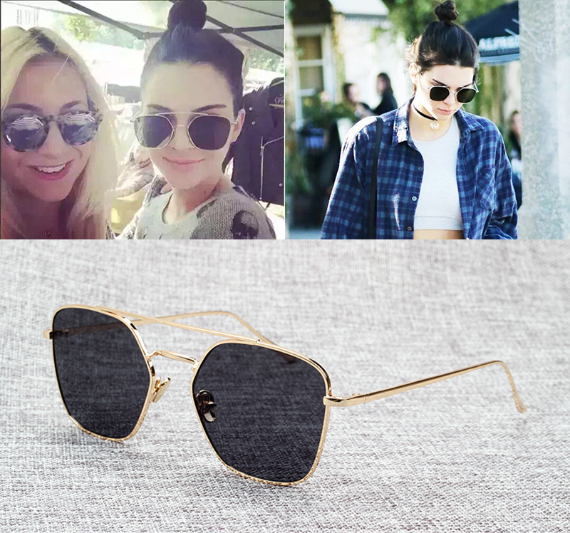 JackJad 2018 Moda Kendall Jenner Style Square Aviación Gafas de sol Mujer Diseño de la marca Gafas de sol UV400 Gafas de sol Feminino