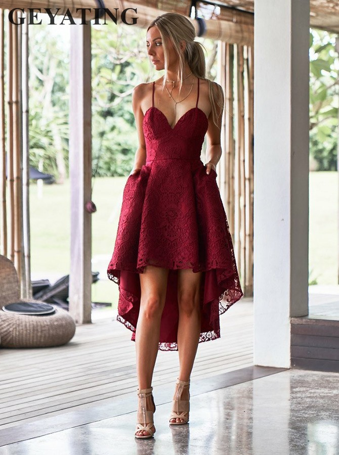 Vintage Lace High Low Burgundy Bridesmaid Dress with Pockets Spaghetti Straps Short Beach Wedding Party Dress Guest Formal Gowns