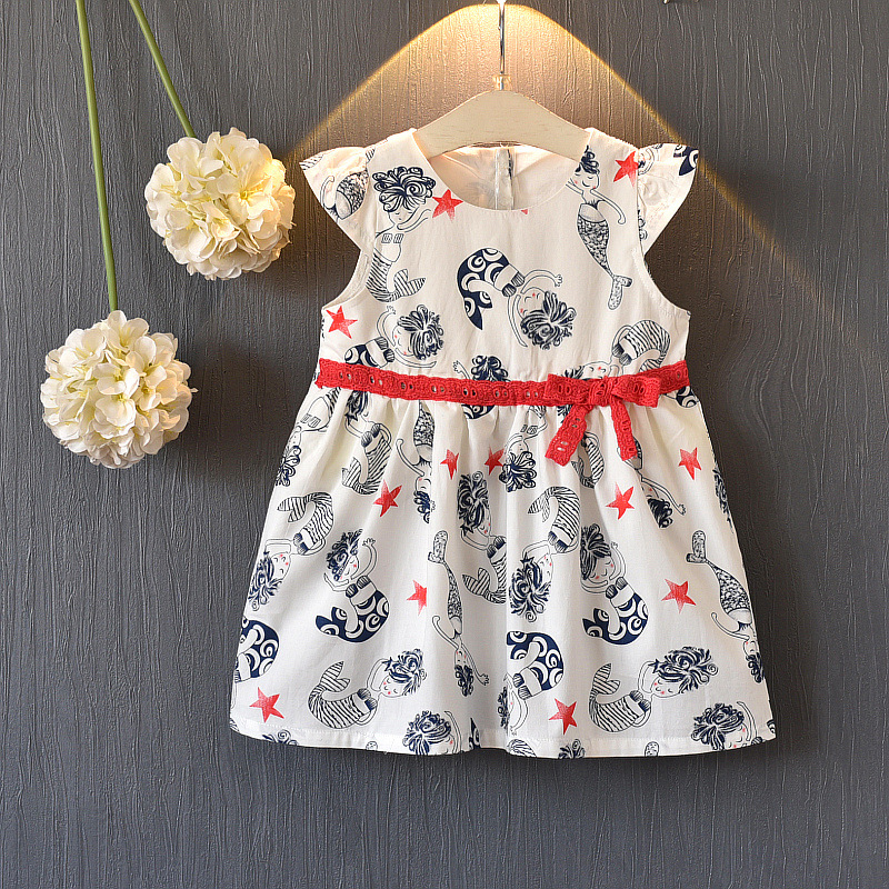 new summer girls dress fly sleeve baby girls clothes cartoon print kids dress for gir cute bow baby clothes birthday vestidos ...