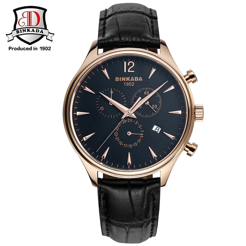 цена на 2017 Classic Brand BINKADA Date Day Calendar Quartz Watch Stainless Steel Case Black Leather Strap Gold Men  Luxury Simple Watch