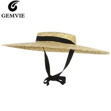GEMVIE новая большая соломенная шляпа с полями летние шляпы для Женская лента пляжная кепка Boater плоский топ шляпа от солнца