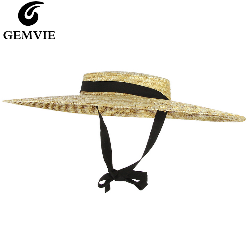 da2af9d91 US $9.5 34% OFF|GEMVIE New Large Brim Straw Hat Summer Hats For Women 12cm  15cm Brim Black Ribbon Beach Cap Boater Flat Top Sun Hat Chin Strap-in ...