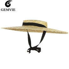 GEMVIE New Large Brim Straw Hat Summer Hats For Women 12cm-15cm Brim Black Ribbon Beach Cap Boater Flat Top Sun Hat Chin Strap chic black ribbon embellished summer straw hat for women