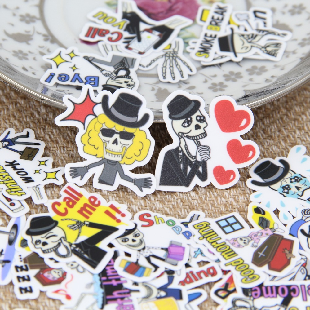 40 pcs/ Funny skull English expression account decoration stickers Line with my DIY diary album stickers