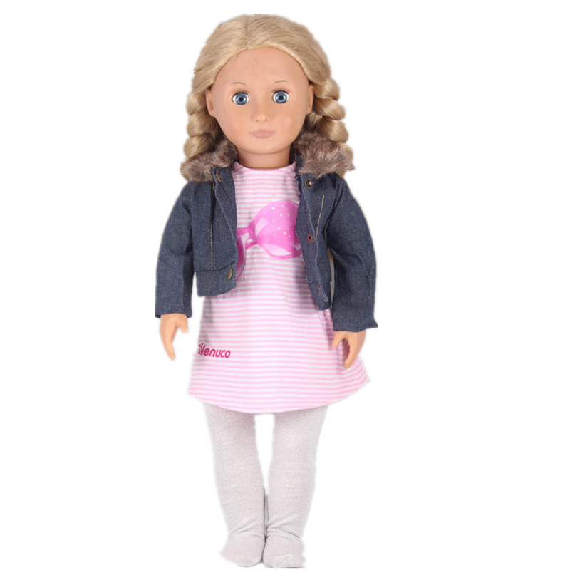 Casual Doll Clothing Suits Jean Coat Pink Stripe Dress Grey Tights For 18 Inch American Girl Doll Best Birthday Christmas Gift pink wool coat doll clothes with belt for 18 american girl doll