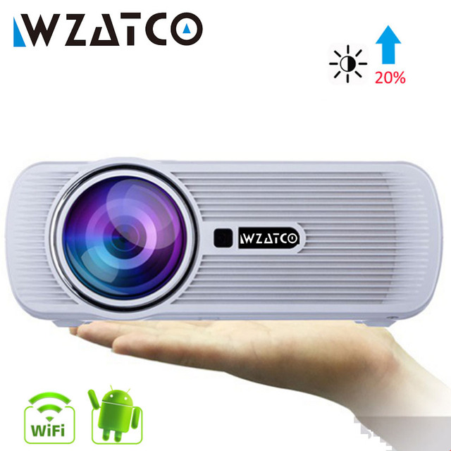 Best Price WZATCO CTL80 LCD Projector Upgrade Android 7.1 WIFI Portable LED TV Projector 2200lumens 3D Home Theater Full HD 1080p 4K Beamer