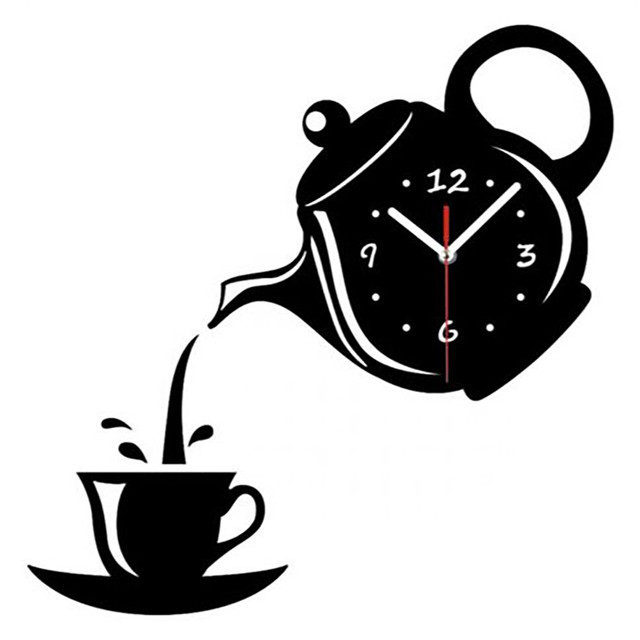 Teapot Wall Clock Watch Mirror Coffee Cup Clocks Decorative Kitchen Dining Room