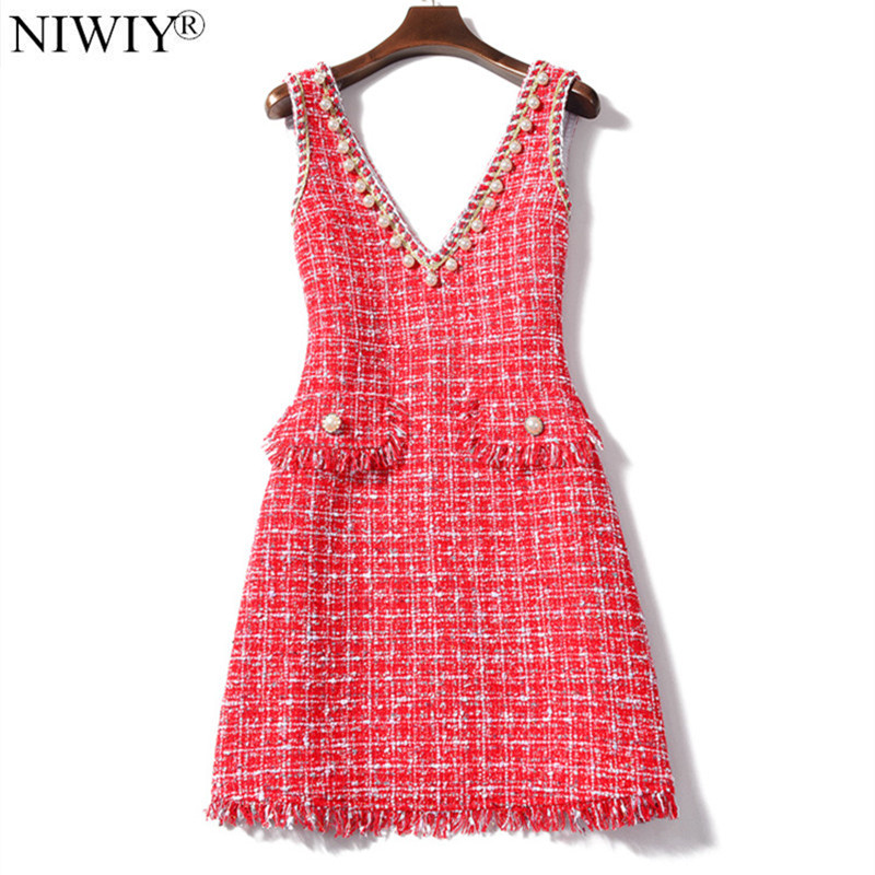 NIWIY Brand Dress Spring V-neck Tweed Sexy Woman Dress 2019 Sleeveless Evening Party Lolita Dress Kerst Jurk Ropa Mujer K9127
