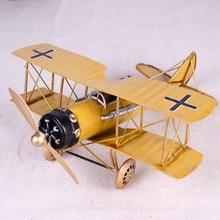 Vintage Metal Plane Home Ornaments Aircraft Model Toys For Children Airplane Miniature Models Retro Creative Home Decor