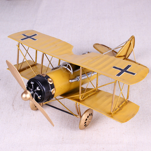Vintage Metal Plane Home Ornaments Aircraft Model Toys For Children Airplane Miniature Models Retro Creative Home Decor