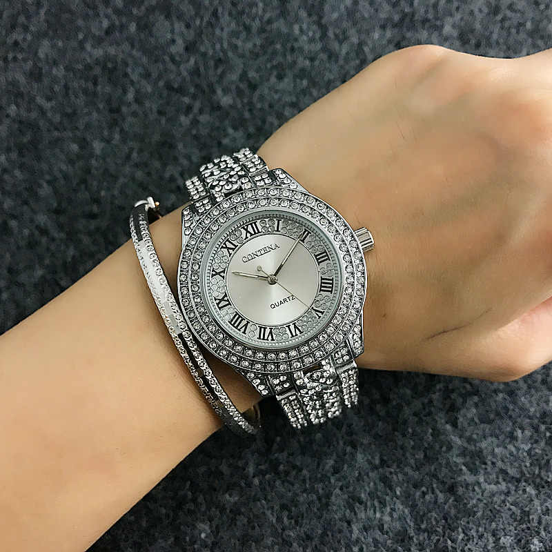2019 CONTENA Brand Full Diamond Watch Shiny Rhinestone Watch Women Watches Luxury Full Steel Women's Watches Ladies Clock saat