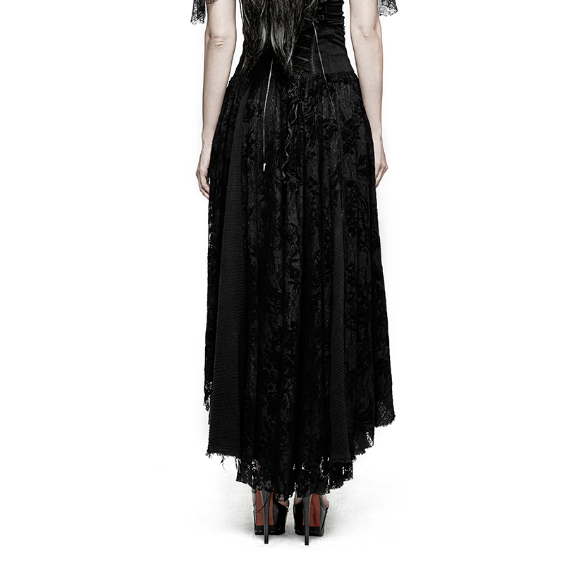 ef20f83b3 PUNK RAVE Gothic Fancy Palace Black High Waist Lace Flower Skirt Embroidery  Asymmetrical Lolita Evening Party Sexy Long Skirts-in Skirts from Women's  ...