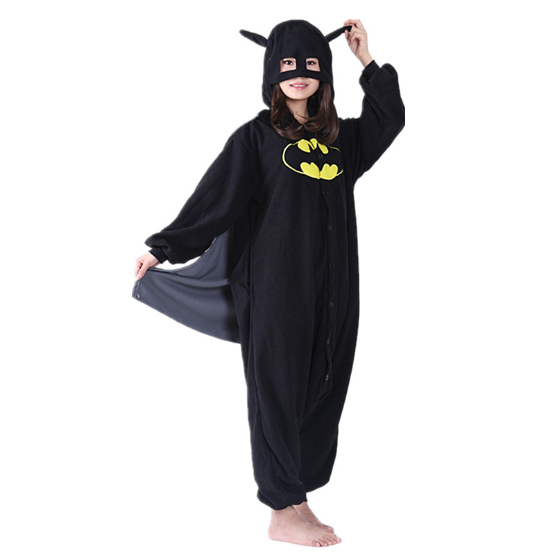 Adult Men and Women Fleece Superman Batman Anime Cartoon Siamese Pajamas Cosplay Couple Winter Home Show Cloak Out Dress