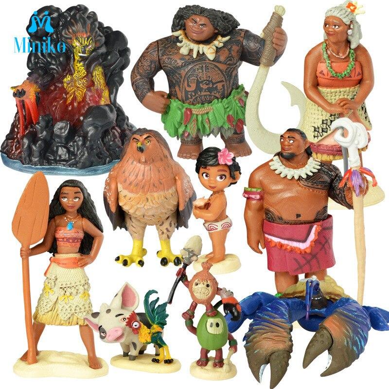 10 шт./компл. мультфильм Моана принцесса Легенда Vaiana Мауи главный Tui Тала Heihei Pua фигурку Декор Игрушки для детей подарок на день рождения|Игровые фигурки и трансформеры|   | АлиЭкспресс