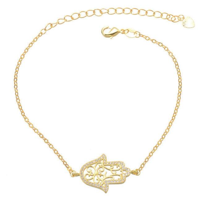 2017 CZ Micro Pave Gold/Rose Gold/Silver Colors Copper Bracelet Women Fatima Jewelry Bracelet