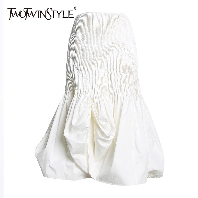 TWOTWINSTYLE Solid Casual Women Skirt High Waist Pleated Slim Hem Knee Length A Line Skirts Female