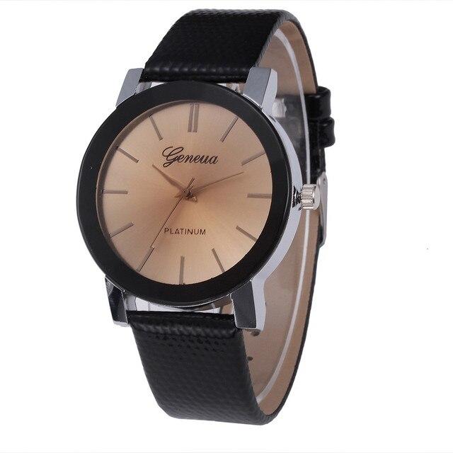 c89c5762e9d Geneva Quartz Watch Women Luxury Brand Dress Clock Big Dial High Quality PU  Leather Band Relogio