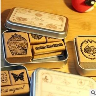 6 Styles DIY Scrapbooking Stamps Vintage Wooden Rubber Ink Pad Stamp Iron Box Sealing Stamp Set tinta sellos 20 colors can choose diy scrapbooking vintage crafts ink pad colorful inkpad stamps sealing decoration stamp