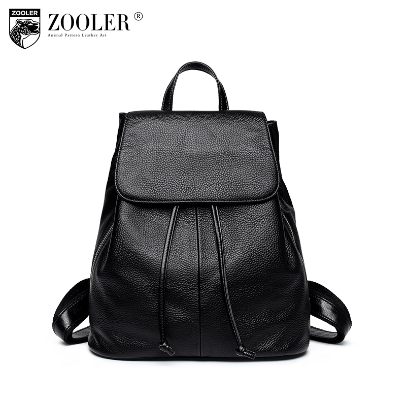 Zooler women backpack Genuine Leather backpacks 2018 winter new rivet large capacity leisure women bag top quality Bolsas#G-500 zooler new autumn winter genuine leather