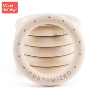 mamihome 20pc 70*10mm Maple Wood Ring Baby Teething Rings Custome Baby Name DIY Making Baby Bracelet Necklace Wooden Teether