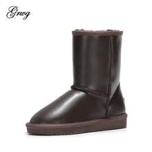 купить GRWG New Fashion Women Snow Boots Genuine Leather Women Boots 100% Natural Fur Warm Wool Winter Shoes Free Shipping дешево
