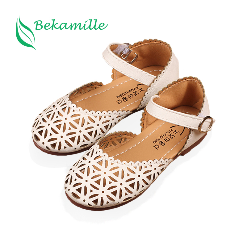 Bekamille Girls Sandals Summer Fashion Cut-Outs Girls Leather Shoes Kids Flat With Solid Color Leisure Sneakers