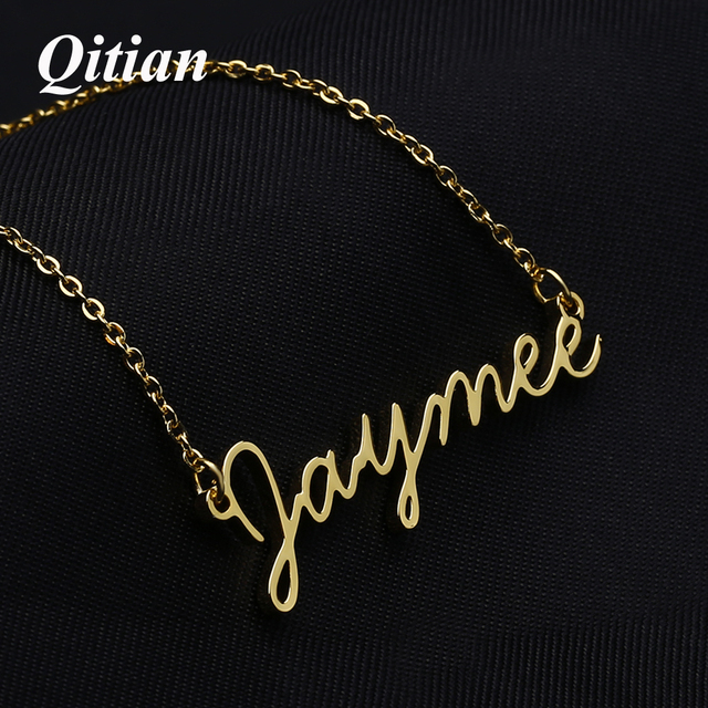 d24c181fbb6dd US $8.79 45% OFF|Cursive Font Name Necklaces Stainless Steel Gold Color  Personalized Custom Choker Necklace For Women Etsy Jewelry Supplier-in  Choker ...