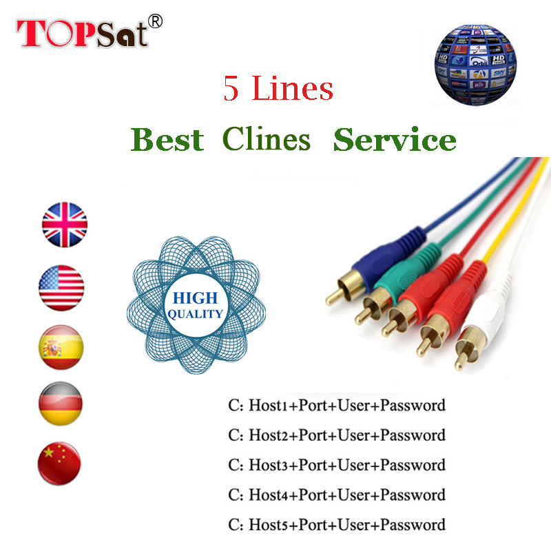CCcam Europe Cline 1 year Clines Server 5 lines for Satellite TV Receiver DVB-S2 Decoder Spain support freesat v7 hd v8 ...