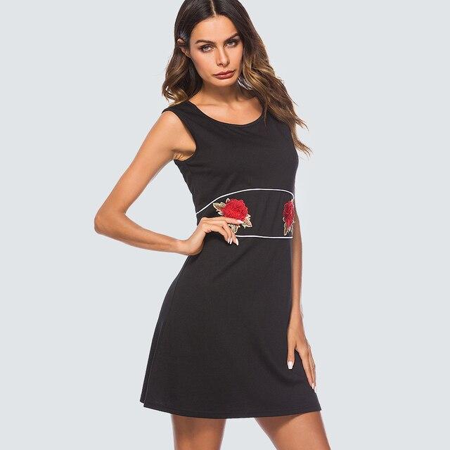 Women Casual Brief Solid Color Shift Dress Elegant Appliques Black