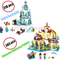 Undersea Palace Dream Princess Elsa Ice Castle Anna Model Building Block Girl Friend Toy Compatible Lego