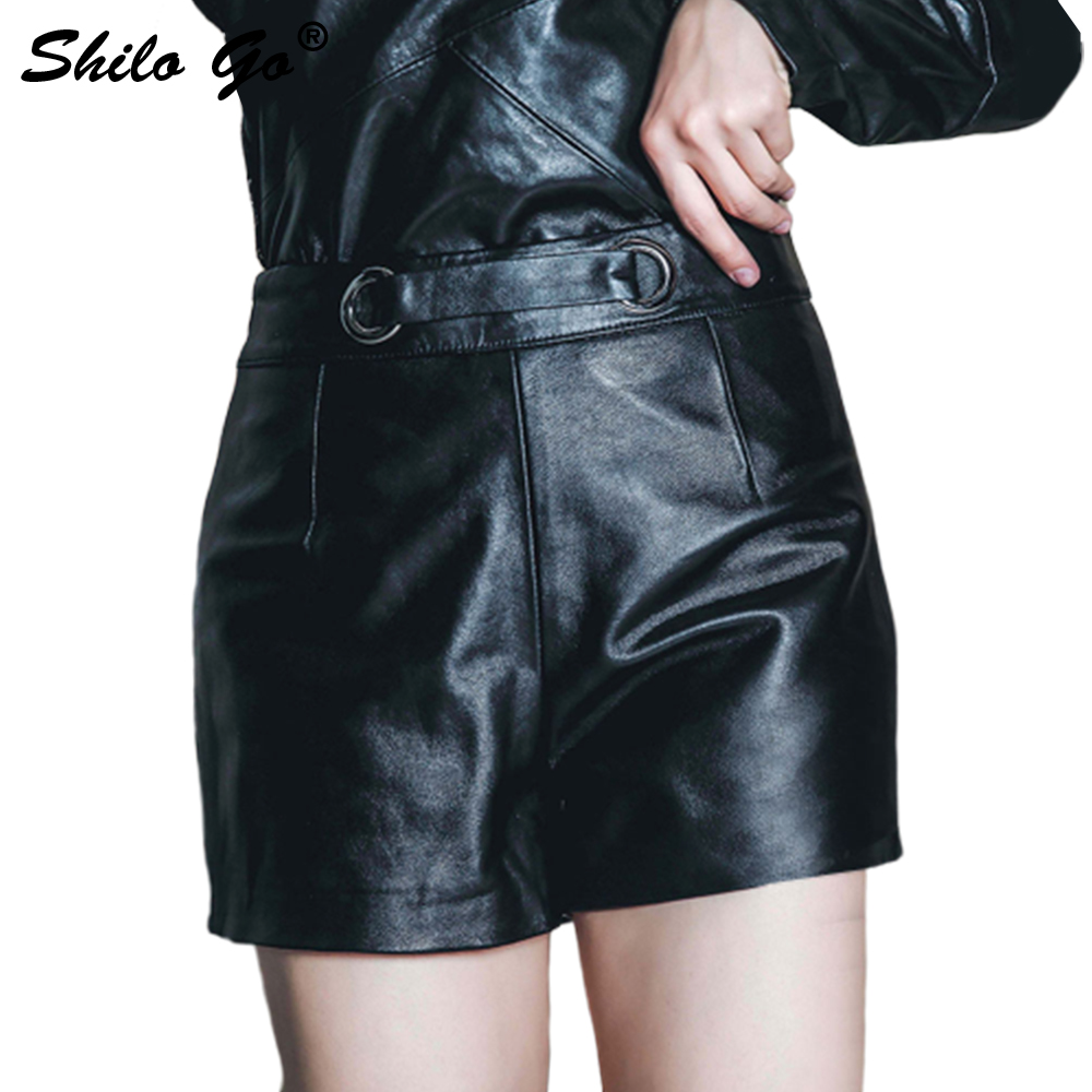 Leather Shorts Womens Summer Fashion Sheepskin Genuine Leather Shorts Round Metal High Waist Concise Slim Shorts