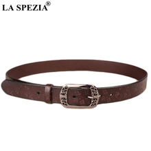 LA SPEZIA Genuine Leather Belt Women Coffee Embossed Flower Belt Ladies Pin Buckle Metallic Real Cow Leather Female Vintage Belt цена и фото