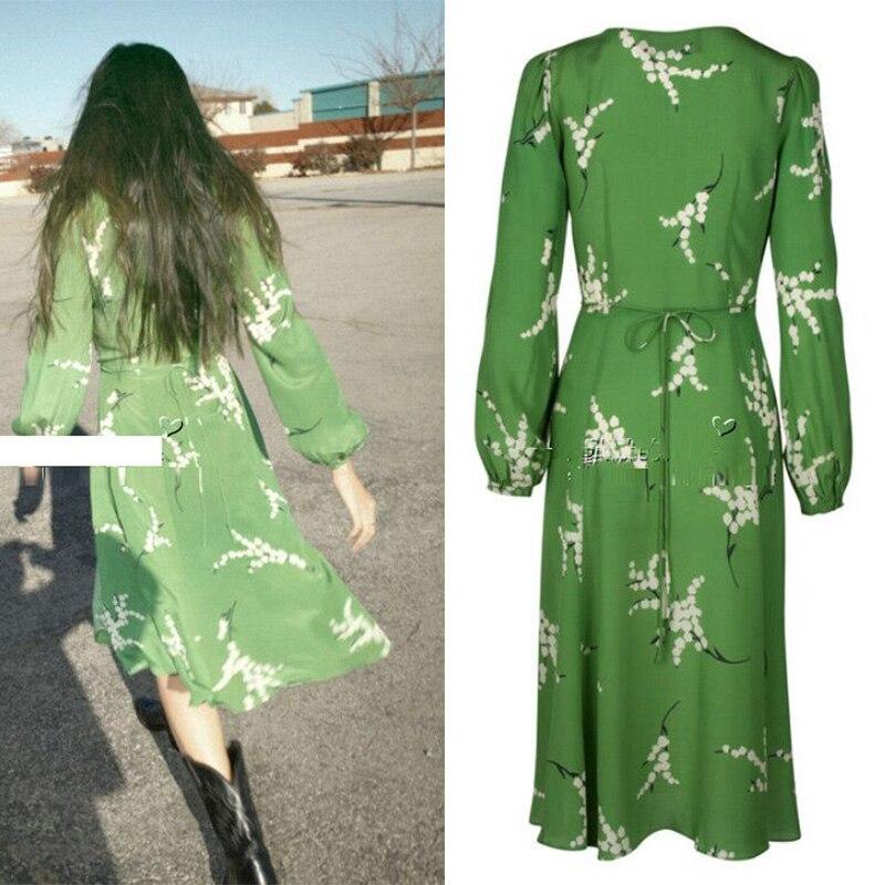 Femmes 100% Soie Peint Imprimé Floral Wrap Longue Robe Vert À Manches Longues Foncé V Décolleté Sexy Robes de Vacances D'été Plage loveing - 3
