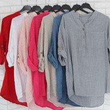 Womens Cotton Linen Stand Collar Shirt Blouse