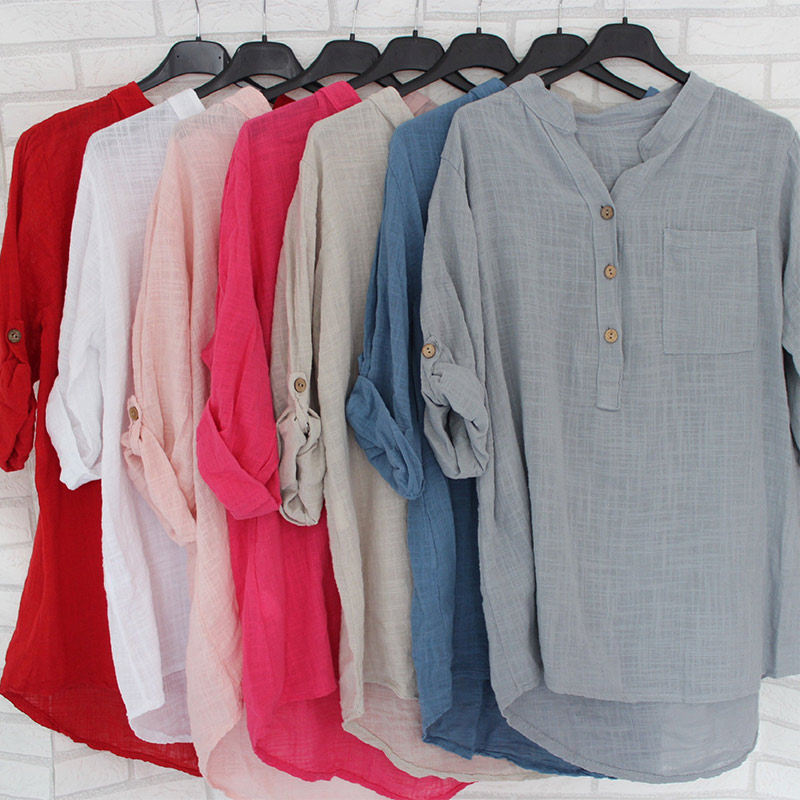 Womens Cotton Linen Stand Collar Shirt Blouse Plus Size 5XL White Solid Pocket Womens Shirts 2020 Spring Loose Blouses Female