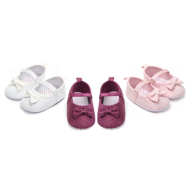 Infant Baby Girls Bow Toddler Cotton Princess Shoes Spring Autumn Children Newborn Girl Anti-slip Footwear First Walkers