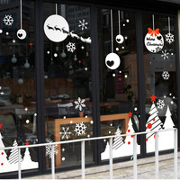 Large Christmas Wall Sticker Snowman Snowflake Bell Christmas Holiday Wall Sticker Decal Shop Window Glass Home Decoration
