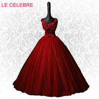 LE CELEBRE Wine red evening dress color yarn V necked solo stage studio Long performance costumes Puff evening dress